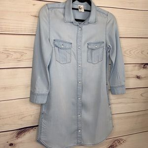 H&M Light Washed Denim Dress With Long Sleeves